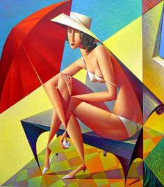 Check out Red Umbrella by Georgy Kurasov. Pick your favorite cover Cubist Artists, Cubism Art, Arte Pop, October Gallery, Umbrella Art, Illustration Art, Illustrations, Art Moderne, Russian Art