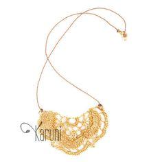 Wire Crochet Fashion Jewelry Metal Necklace Golden Flower Bat Wing Fancy Design South Africa Ethnic Mahatsara