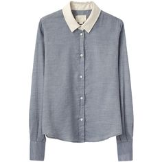 Boy by Band of Outsiders Contrast Collar Shirt ($370) ❤ liked on Polyvore featuring tops, blouses, shirts, long sleeves, shirts & blouses, light blue shirt, light blue long sleeve shirt, boxy crop top und pleated blouse
