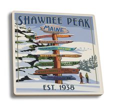 Coaster (Shawnee Peak, Maine - Ski Destinations Sign - Lantern Press Artwork)