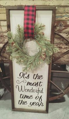 Getting inspired and in the spirit is half the fun of the season, after all! So, we've rounded up some rustic Christmas decor that you could easily incorporate into your pre-existing holiday scheme this year. Christmas Projects, Holiday Crafts, Christmas Wreaths, Christmas Ideas, Christmas Signs Wood, Merry Christmas Sign, Christmas Lights, Farmhouse Christmas Decor, Winter Christmas