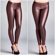 ‼️1 HR SALE ‼️Wine Faux leather   Vegan Leggings Vegan wine best selling leggings NWOT. Size 6/8 suggested for medium . Very stretchy material and looks great as an alternative version to standard leggings . If you would like a different color please comment .  bronze available too promo price is firm . Black is not on promo ! Vivacouture Accessories Hosiery & Socks