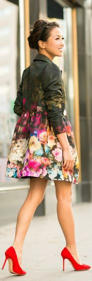 Holiday Bloom :: #Floral #Jacket & #Green #Spotted #Dress by Wendy's Lookbook