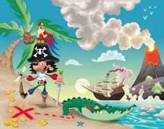 Pirate on the Island. — Vector EPS #illustration #coconut • Download here → https://graphicriver.net/item/pirate-on-the-island/151059?ref=pxcr