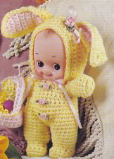 Crochet Pattern ~ KEWPIE DOLL COTTONTAIL BUNNY OUTFIT ~ Instructions