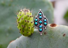 Navajo sterling silver turquoise jewelry cactus – Yourgreatfinds