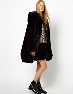 Monki Hooded Fur Coat