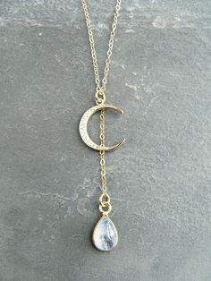 Beautiful Gold Vermeil Crescent Moon Pendant with Pave Rhinestone and Rainbow Moonstone Teardrop  Comes on 16 14k Gold Filled Chain  *Moonstone is