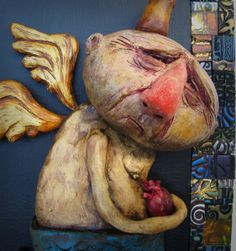 You Belong to Me by Edgar Henandez Paper Mache Clay, Paper Clay, Clay Art, Paper Art, Handmade Angels, Handmade Dolls, Pottery Angels, Mediums Of Art, Clay Dolls