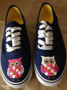 Hand Painted Owl Shoes by MonkeymouDesigns on Etsy, $25.00 www.facebook.com/MonkeymouDesigns