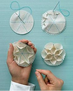 DIY Easy Sew Snowflake Ornament by Martha Stewart ---would be cute as an embellishment on clothing or bags as well