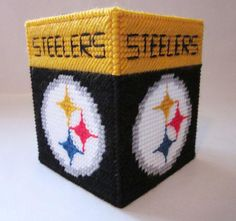 Free Plastic Canvas Tissue Box Patterns | Pittsburgh Steelers tissue box cover in plastic canvas by AuntCC