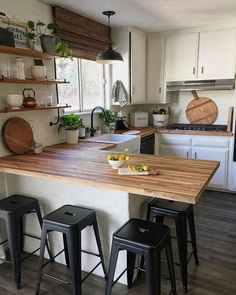 If you are looking for Rustic Farmhouse Kitchen Design Ideas, You come to the right place. Below are the Rustic Farmhouse Kitchen Design Ideas. Butcher Block Kitchen, Butcher Blocks, Kitchen With Bar Counter, Kitchen Without Top Cabinets, Kitchen Island Against Wall, Kitchen On One Wall, Kitchen With Window, Kitchens With White Cabinets, Kitchen Window Coverings