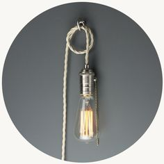 Hoi P'loy Portable Pendant light is perfect for rental spaces or flexible lighting needs. Includes an option of a Hoi P'loy 'Handy Hook' that can be easily attached to ceiling and walls.  Please choose if you would like the Squirrel Cage Vintage Light Bulb (R 50 saving) or not.