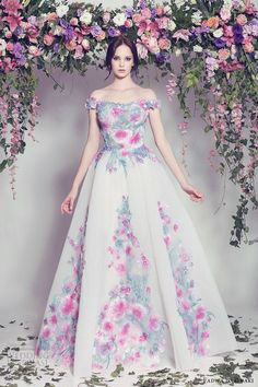 fadwa baalbaki spring 2016 couture off shoulder ball gown multi color floral mv romantic