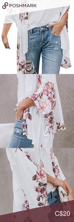Kimono Floral kimono, brand new, one size, sheer soft fabric Tops Floral Kimono, Kimono Top, Soft Fabrics, Brand New, Product Description, Closet, Things To Sell, Tops, Style