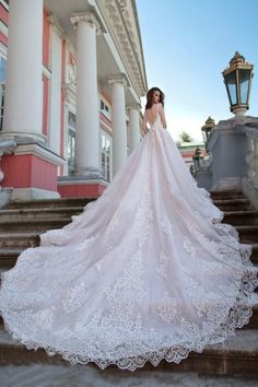 On Sale Magnificent Beautiful Wedding Dresses Luxury Sheer Neck Wedding Dresses Ball Gown Sweep Train Sexy Lace Beautiful Big Bridal Gown Luxury Wedding Dress, Sexy Wedding Dresses, Bridal Dresses, Wedding Gowns, Bridal Veils, Wedding Veil, Wedding Gown Lace, Wedding Book, Wedding Dress Long Train