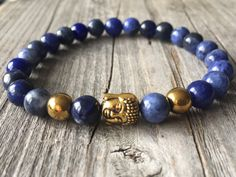 Gemstone men bracelet, Buddha bracelet, Blue bracelet, Zen bracelet, earthy bracelet, Buddha jewelery, Gemstone men jewelery, Men gift idea door KennlyDesign op Etsy