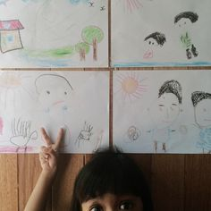 Amani pictures her daily life into her crayon drawing. 1. Home  2. Mummy & Me (Amani) 3. Phoenix (hedgehog) & Me (Amani) 4. Atok & Nenek Imma #proudmummy