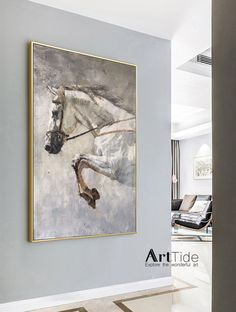 White Horse Painting, Abstract Horse Painting, Horse Paintings, Pastel Paintings, Horizontal Wall Art, Horse Wall Art, Horse Portrait, Large Canvas Art, Beautiful Paintings