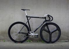 Fixed gear,single speed.Whole black with a little  white.