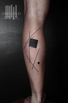 Very interesting and unseen idea! You can see scattered details on calf. There're many lines in different positions, black square and tiny black circle. Interesting combination of geometric details! - See more at: http://www.pairodicetattoos.com/geometry-on-calf/#sthash.AgumvfmT.dpuf