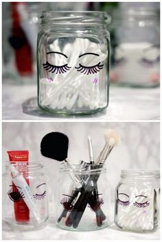 DIY Sharpie Glass Storage Jar Tutorial from ling yeung b. This is a good DIY for college students, teens, tweens etc… All you need are sharpies and glass jars. It may not be the most durable finish, b Glass Storage Jars, Jar Storage, Glass Jars, Sharpie Crafts, Sharpie Art, Sharpies, Tape Crafts, Mason Jar Crafts, Mason Jars