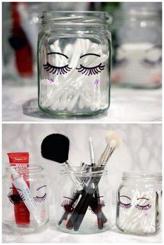 como decorar frascos para maquillaje