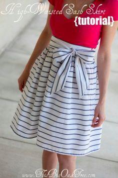 Download High Waisted Sash Skirt Sewing Pattern (FREE)