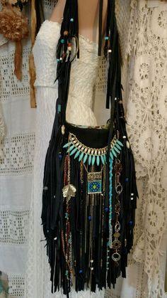 Handmade Black Leather Fringe Shoulder Bag Hippie Boho Hobo Gypsy Beads tmyers #Handmade #ShoulderBag