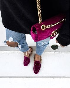 Streetstyle: Velvet bag & Princetown loafer by GUCCI