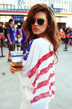 Nice use of red, white and blue. Just replace those shades with SOLOs and you're ready to hit your local festival or fair! #summer #outfit