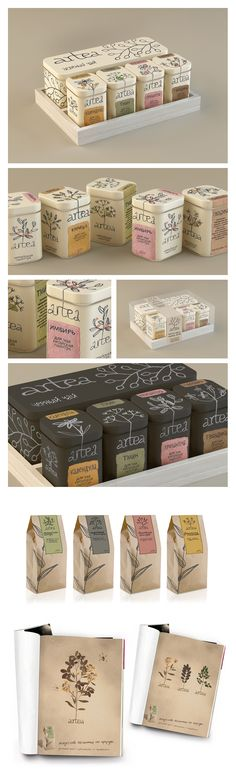 Gorgeous packaging design. Even though I don't speak Russian, I knew it was tea. I'm guessing the box on the left is chamomile and the second from the right is chrysanthemum. Anyone know? | Artea. Package © Мария Пономарева