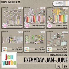 Digital Scrapbooking kit: Everyday January-June Mega Collection by Jen Yurko A HUGE collection for everyday layouts!
