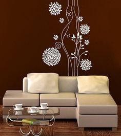 Wall vinyl sticker decal art  - Abstract  flower livingroom bedroom sur Etsy, $106.45 CAD