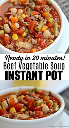 Looking for a quick and easy recipe for the weeknights? This pressure cooker beef vegetable soup is ready in 20 minutes. This simple instant pot recipe with ground beef is one that the entire family will love! #eatingonadime #recipes #quickandeasy #dinner #dinnerrecipes #dinnerideas #recipeideas#recipeoftheday #instantpot #pressurecooker #instantpotrecipes #pressurecookerrecipes