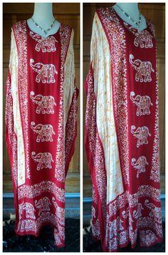 Vintage Caftan Batik Hippie Elephants Wide by caligodessvintage