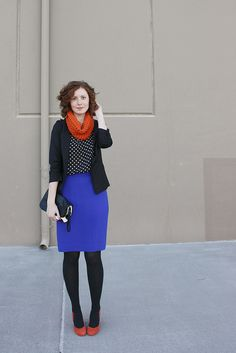 I like this outfit. I have all the pieces, just use different color for shoes and scarf. by Feathers, via Flickr