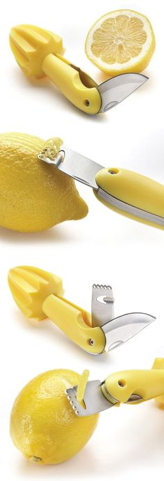 Cool Kitchen Gadgets - lemon knife and zester - so clever for baking, making lemon-infused drinks or cocktail garnishes! Kitchen Tools And Gadgets, Cooking Gadgets, Kitchen Supplies, Gadgets And Gizmos, Cooking Tools, Kitchen Hacks, Spy Gadgets, Cooking Icon, Amazon Gadgets