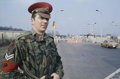 A lance corporal of 247 (Berlin) Provost Company, Royal Military Police on duty at Checkpoint Bravo 3, Dreilinden, south west Berlin in the early 1970s.
