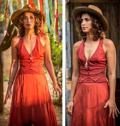 Maria Tereza (Camila Pitanga)  figurino, Velho Chico vestido vermelho