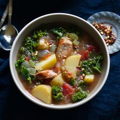 Let's eat soup every single day.    Ok.   -roasted tomato, kale, sausage and potato soup-