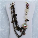 Brass Chain Pearl Gold Tone Charm Bib Necklace