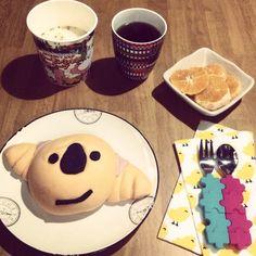 [2014/03/20]    おはあめー☔︎    今朝はコアラちゃん    叔父さんが送ってくれたみかん(まりひめ)   ムーミンスープ◟(๑˃̶ ੪ ˂̶๑)◞