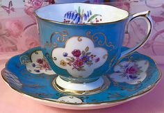 Pretty Pink Addiction-and Blue-Royal Albert Pink Teacup and Saucer Number 1459