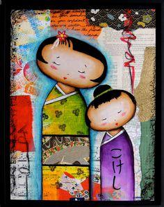 Kokeshi doll painting