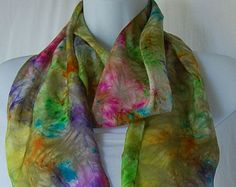 Hand Dyed Silk Scarf  rainbow colors  - Silk hand painted Scarf Batik Style