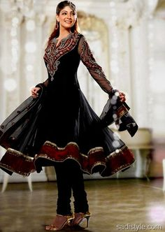 black anarkali (with red net)