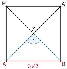 Veranschaulichung des Nachweises des Quadrats ABA'B' unter Berücksichtigung der Lage des Punktes Z