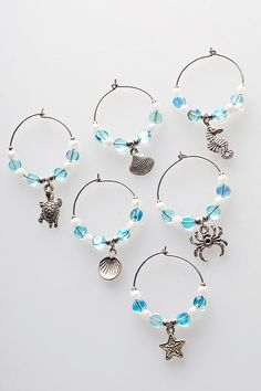 Sea Creature Wine Charms (Set of 6)